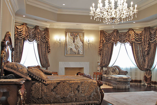 Custom Traditional Drapery in Bedroom